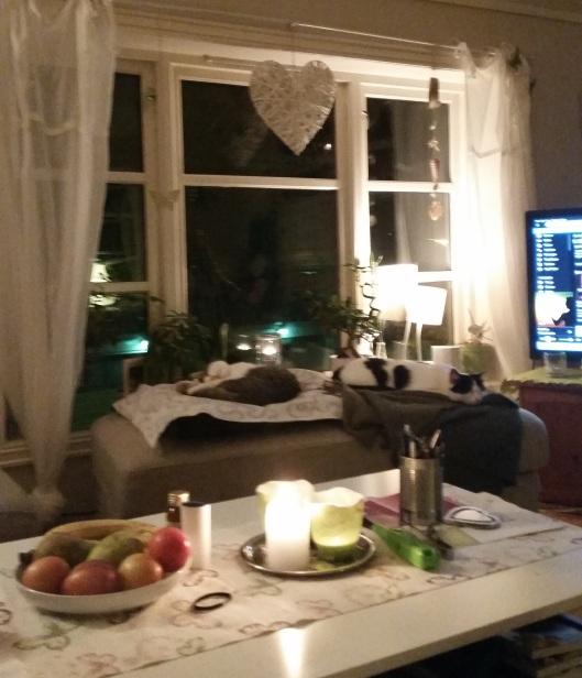 Mys med tente lys, musikk og to trøtte puser på puffen :)